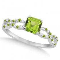 Diamond & Peridot Princess Infinity Engagement Ring 14k W. Gold 1.31ct