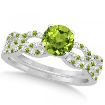 Infinity Style Peridot & Diamond Bridal Set 14k White Gold 0.85ct