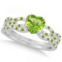 Peridot & Diamond Heart Infinity Style Bridal Set 14k W Gold 1.45ct