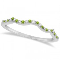 Diamond & Peridot Contour Wedding Band 14K White Gold 0.24ct