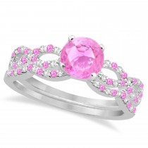 Infinity Style Pink Sapphire & Diamond Bridal Set 14k White Gold 1.29ct