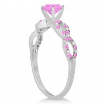 Infinity Style Pink Sapphire & Diamond Bridal Set 14k White Gold 1.29ct