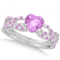 Pink Sapphire & Diamond Heart Infinity Bridal Set 14k W Gold 1.74ct