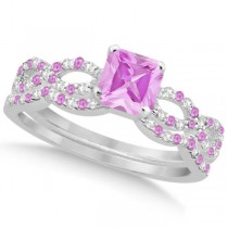 Pink Sapphire & Diamond Princess Infinity Bridal Set 14k W Gold 1.74ct