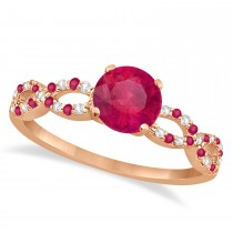 Infinity Diamond & Ruby Engagement Ring 14K Rose Gold 1.05ct