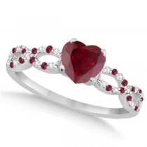 Diamond & Ruby Heart Infinity Engagement Ring 14K White Gold 1.50ct