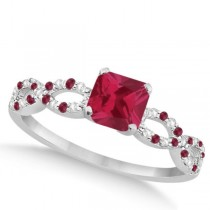 Diamond & Ruby Princess Infinity Engagement Ring 14k White Gold 1.50ct