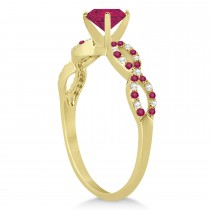 Infinity Diamond & Ruby Engagement Ring 14K Yellow Gold 1.05ct