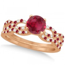 Ruby & Diamond Infinity Style Bridal Set 14k Rose Gold 1.69ct