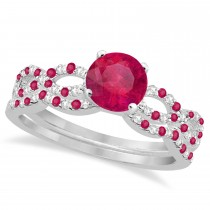 Ruby & Diamond Infinity Style Bridal Set 14k White Gold 1.69ct