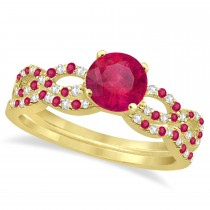 Infinity Style Preset Ruby & Diamond Bridal Set 14k Yellow Gold 1.29ct