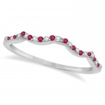 Diamond & Ruby Contour Wedding Band 14K White Gold 0.24ct