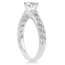 Diamond Swirl Engagement Ring Setting 14k White Gold 0.17ct