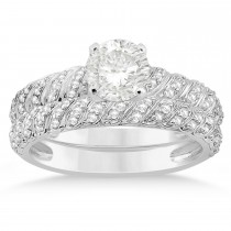 Diamond Swirl Bridal Set Setting 14k White Gold (0.41ct)
