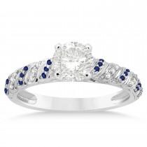 Blue Sapphire & Diamond Swirl Bridal Set 14k White Gold 0.41ct