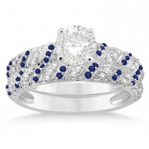 Blue Sapphire & Diamond Swirl Bridal Set Setting Palladium 0.41ct