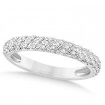 Diamond Swirl Wedding Band 18k White Gold 0.24ct