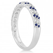 Blue Sapphire & Diamond Swirl Wedding Band 14k White Gold (0.24ct)