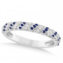 Blue Sapphire & Diamond Swirl Wedding Band 18k White Gold 0.24ct