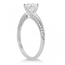 Knife Edge Diamond Engagement Ring 18k White Gold Setting (0.18ct)