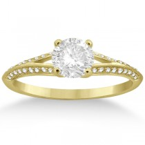 Knife Edge Diamond Engagement Ring 18k Yellow Gold Setting (0.18ct)