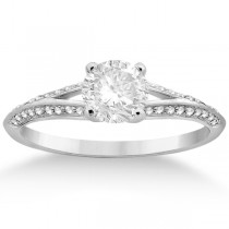 Knife Edge Diamond Engagement Ring Palladium Setting (0.18ct)