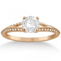 Knife Edge Diamond Engagement Ring with Band 14k Rose Gold (0.40ct)