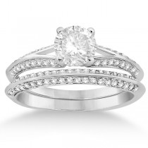 Knife Edge Diamond Engagement Ring with Band 14k White Gold (0.40ct)