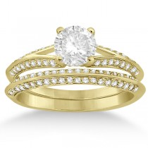 Knife Edge Diamond Engagement Ring with Band 14k Yellow Gold (0.40ct)