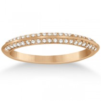 Knife Edge Diamond Engagement Ring with Band 18k Rose Gold (0.40ct)
