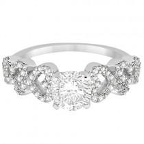Heart Shape Pave Diamond Engagement Ring Setting Platinum (0.30ct)