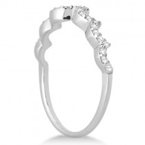 Heart Shape Contoured Diamond Wedding Ring 14k White Gold (0.20ct)