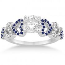 Blue Sapphire & Diamond Heart Engagement Ring 14k White Gold (0.30ct)