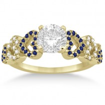 Blue Sapphire & Diamond Heart Engagement Ring 14k Yellow Gold (0.30ct)