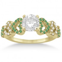 Emerald & Diamond Heart Engagement Ring Setting 14k Yellow Gold 0.30ct