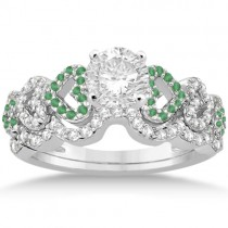 Emerald & Diamond Heart Engagement Ring Bridal Set 14k W. Gold 0.50ct