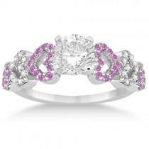 Pink Sapphire & Diamond Heart Engagement Ring 14k White Gold (0.30ct)