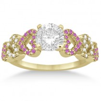 Pink Sapphire & Diamond Heart Engagement Ring 14k Yellow Gold (0.30ct)