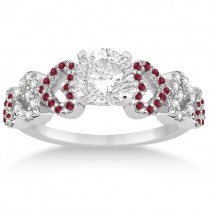 Ruby & Diamond Heart Engagement Ring Setting 14k White Gold (0.30ct)