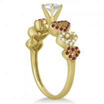 Ruby & Diamond Heart Engagement Ring setting 14k Yellow Gold (0.30ct)