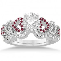 Ruby & Diamond Heart Engagement Ring Bridal Set 14k White Gold 0.50ct