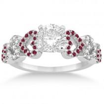 Ruby & Diamond Heart Engagement Ring Bridal Set 14k White Gold 0.50ct