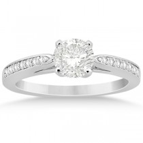 Petite Half-Eternity Diamond Engagement Ring 14k White Gold (0.14ct)
