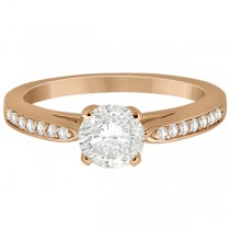 Petite Half-Eternity Diamond Engagement Ring 18k Rose Gold (0.14ct)