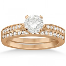 Petite Half-Eternity Diamond Bridal Set in 14k Rose Gold (0.31ct)