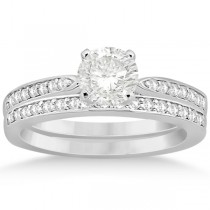 Petite Half-Eternity Diamond Bridal Set in 14k White Gold (0.31ct)