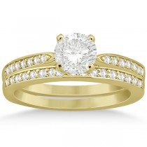 Petite Half-Eternity Diamond Bridal Set in 14k Yellow Gold (0.31ct)