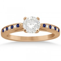 Cathedral Blue Sapphire Diamond Engagement Ring 14k Rose Gold 0.26ct