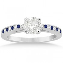 Cathedral Blue Sapphire Diamond Engagement Ring 14k White Gold 0.26ct