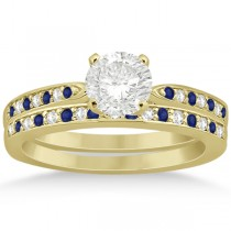 Blue Sapphire & Diamond Engagement Ring Set 14k Yellow Gold (0.55ct)